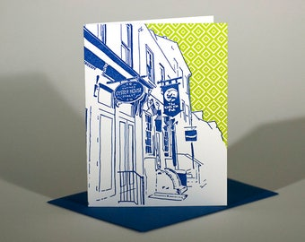 Baltimore Letterpress Card | Thames Street | blue & green single blank card with envelope