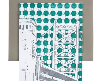 Philadelphia Letterpress Card| Benjamin Franklin Bridge | gray & teal single blank card with envelope