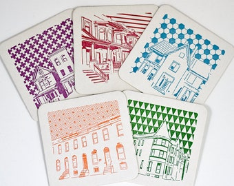 Baltimore Coasters | House Architecture | Letterpress Printed Pack of 5 Coasters