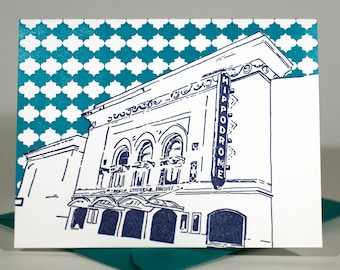 Baltimore Letterpress Card | Hippodrome Theatre | navy & teal single blank card with envelope