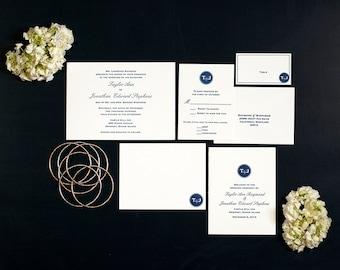 Letterpress Wedding Invitation Suites | Modern Monogram Wedding Invitation | Classic Wedding Invitation | Handmade Wedding Invitations
