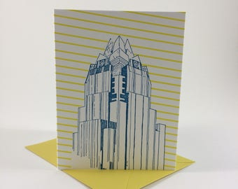 Austin Letterpress Card | Frost Bank Tower | teal & yellow single blank card with envelope