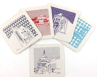 Washington D.C. Coasters | Letterpress Printed Pack of 5 Coasters