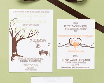Letterpress Wedding Invitation Suite | Handmade Wedding Invitation Suite | Tree Wedding Invitation Suite | Modern Wedding Invitation Suite