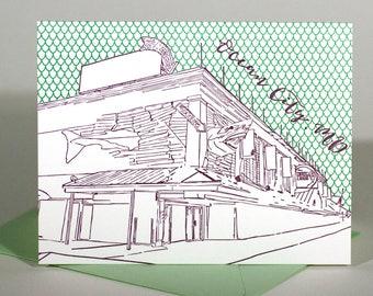 SALE | Ocean City Letterpress Card | Boardwalk | purple & green single blank card with envelope