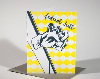 SALE | Baltimore Letterpress Card | American Visionary Art Museum | gray & yellow single blank card with envelope