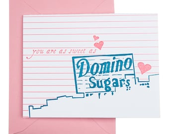 Baltimore Letterpress Card | Domino Sugars sign | teal & pink single blank card with envelope