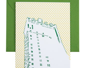 Waco, Texas Letterpress Card | ALICO Building | green & yellow single blank card with envelope