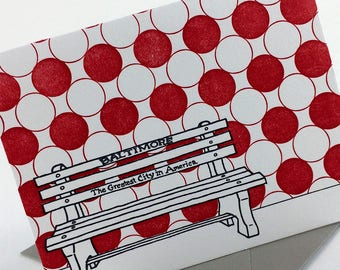 Baltimore Letterpress Card   Greatest City in America Bench   red & gray single blank card with envelope