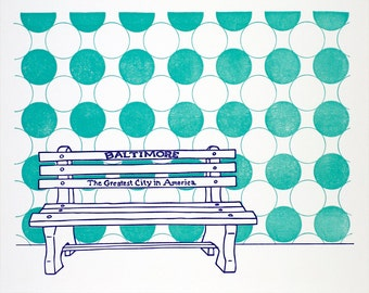 "Baltimore Letterpress Poster | Greatest City in America Bench | purple & teal 8"" x 10"" Posters"
