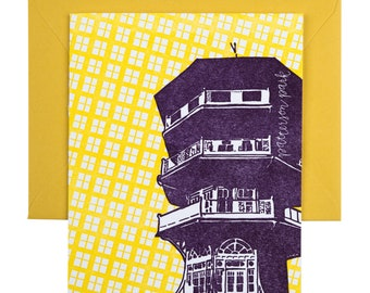 Baltimore Letterpress Card | Patterson Park Pagoda | purple & yellow single blank card with envelope