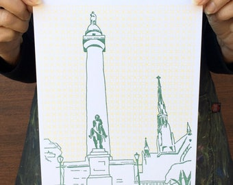 "Baltimore City Letterpress Poster | Washington Monument | 8"" x 10"" letterpress poster"