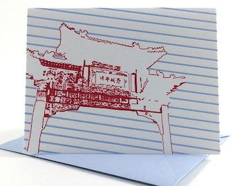 Philadelphia Letterpress Card| Chinatown Friendship Gate | red & blue single blank greeting card with envelope