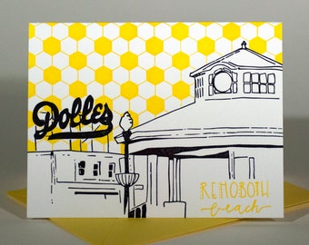 Rehoboth Beach Delaware Letterpress Card | Boardwalk | blue & yellow single blank card with envelope