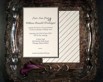 Couture Letterpress Wedding Invitation with double sided printing   Modern Wedding Invitation Suite   Handmade Wedding Invitation Suites