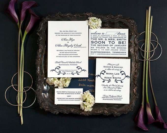 Featured listing image: Letterpress Wedding Invitation Suite with Website Card | Traditional Wedding Invitation Suite | Floral Wedding Invitations