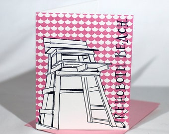 Rehoboth Beach Delaware Letterpress Card | Lifeguard Stand | gray & pink single blank card with envelope