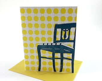 Washington D.C. Letterpress Card | Anacostia Chair | peacock & yellow single blank card with envelope