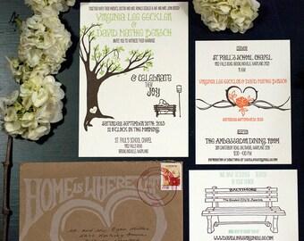 Letterpress Wedding Invitation Suite   Handmade Wedding Invitation Suite   Tree Wedding Invitation Suite   Modern Wedding Invitation Suite