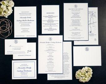 Letterpress Wedding Invitation Suite   Monogram Wedding Invitation Suite   Modern Wedding Invitation Suite   Classic Wedding Invitation