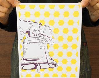 "Philadelphia Letterpress Poster   Liberty Bell   purple & yellow 8"" x 10"" poster"
