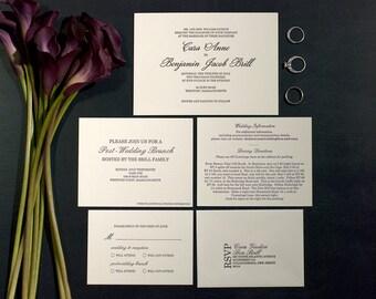 Letterpress Wedding Invitation Suite with RSVP set & Info Card   Traditional Wedding Invitation Suite   Classic Wedding Invitation Suite