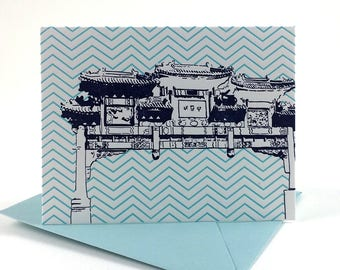 Washington D.C. Letterpress Card | Friendship Archway | purple & teal single blank card with envelope