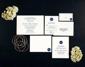 Letterpress Wedding Invitation Suites   Modern Monogram Wedding Invitation   Classic Wedding Invitation   Handmade Wedding Invitations
