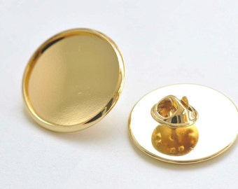 76967a5cf619 24K Gold Tie Tack Clutch Lapel Pin Brooch Blank Match 25mm Cameo Set of 6  A6355