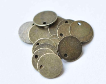 Antiqued Copper Plated Flat Drop Stamping Blanks Tag Charms. 20 Pcs