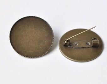 50 Brooch Base Raw Brass Antique Bronze Silver 14mm 20mm Easy-Lock One-Piece Pin Back Brooch Wholesale