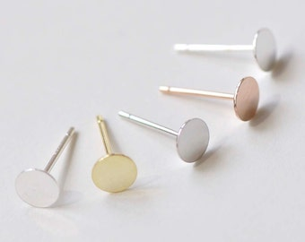 ac4a51886 8 pcs 925 Sterling Silver Flat Pad Earring Stud Post Findings Silver/Gold/Platinum/Rose  Gold/Polished Sterling Silver 3mm/4mm/5mm/6mm/8mm