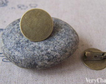 Brooch Pin Blanks Antiqued Bronze Round Settings 16mm Pad Set of 10 pcs A3591