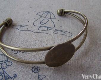 Antique Brass Bangle Bracelet Blanks With Pad Match 20mm Cabochon Set of 1  A148