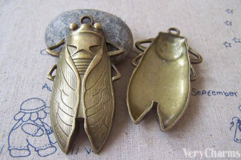 3pcs Antique Large Cicada Fly Charm Pendants 34x62mm DIY Insect Charms