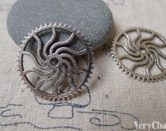 30 pcs Antique Silver Steampunk Gear Cog Wheel Charms 24mm A7084