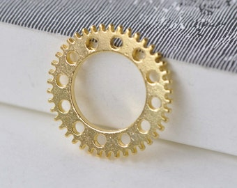 Gold Steampunk Gears Mechanical Clockwork Charms 25mm Set of 20 A7919
