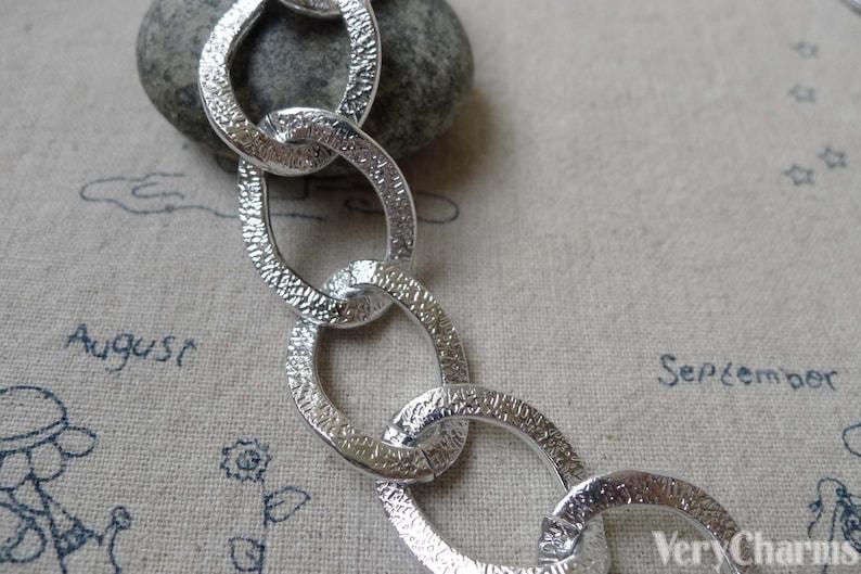 Silver Tone Aluminium Thick Curb Chain Chunky Chain Textured A6655 6.6 ft 2m