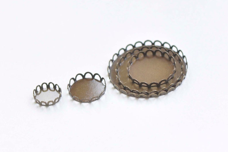 Antique Bronze SCALLOP Edge Pendant Tray Cup Blank Settings Match 10mm-35mm Cabochon