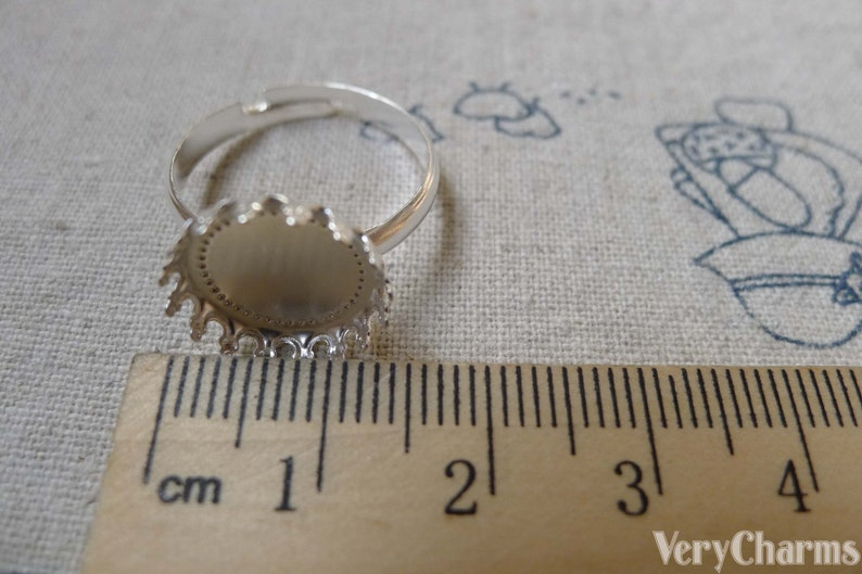 10 pcs Silver Tone Brass Adjustable Ring Blank Shank Base with 12mm Bezel Crown Edge A6064