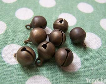 50 pcs Antique Bronze Jingle Bells Charms 8mm A3853