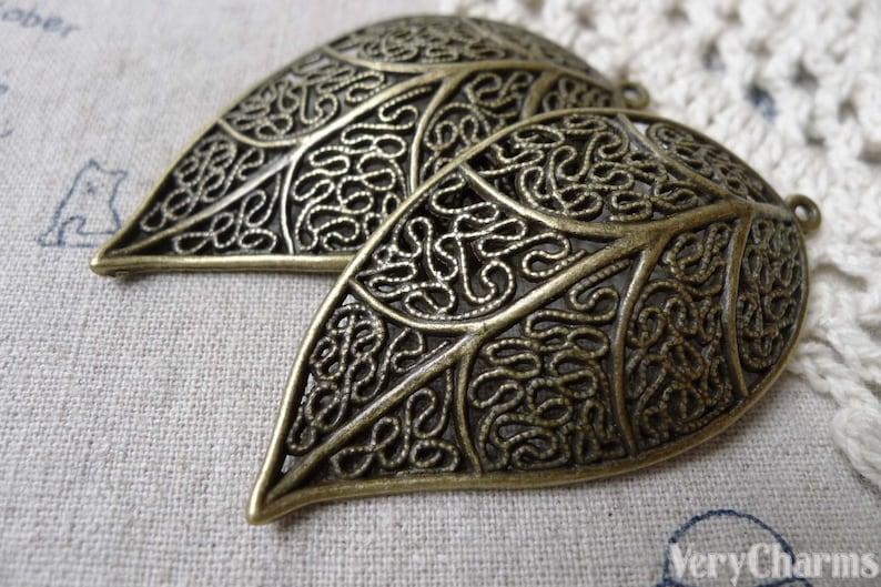 10 pcs of Antique Bronze Filigree Huge Leaf  Pendants Charms 30x57mm A6729