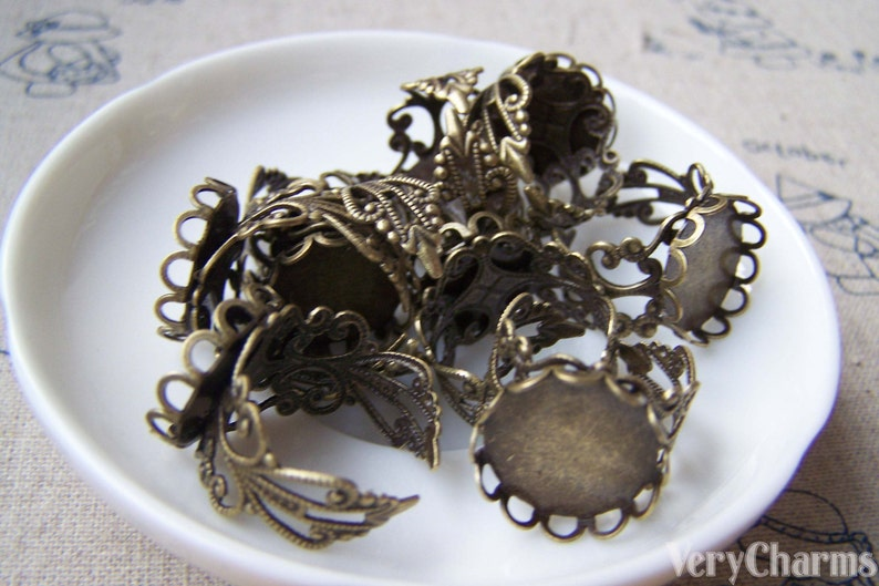 Adjustable Ring Blank Shank Antique Bronze Bezel Base Match 16mm Cabochon Set of 10 A3885