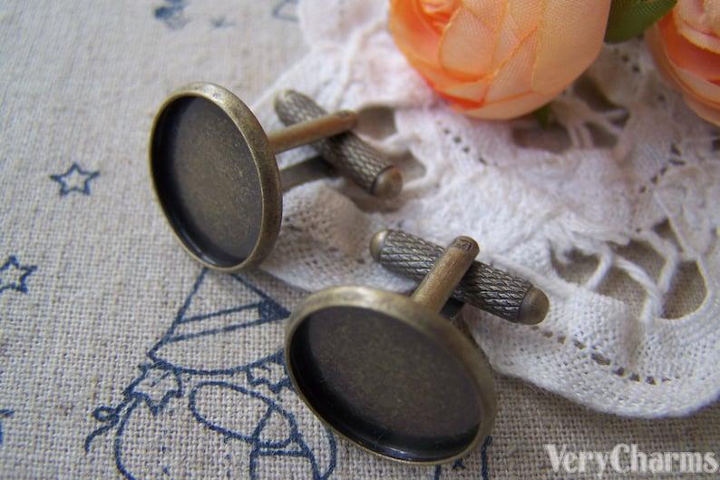 10 pcs of Antique Bronze Brass Screw Thread Cuff Links Cufflinks With Round Bezel Setting Match 18mm Cameo A3082