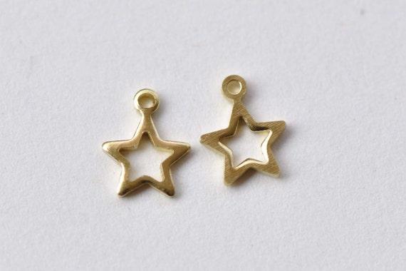 50 pcs Raw Brass Tiny Star Frame Charms 6mm A8744 | Etsy