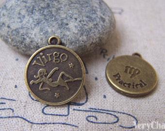 10 pcs of Antique Bronze Virgo The Virgin Constellation Round Charms Pendants 18mm A1933