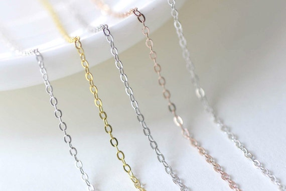925 Sterling Silver Oval Cable Necklace Chain 18 Jewelry Making SilverPlatinumGoldRose Gold
