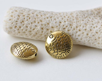 10 pcs Antique Gold Rondelle Fish Round Beads  13.5mm A8723