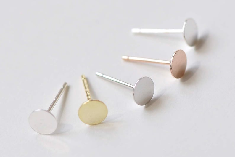 2 Sterling Silver Stud Post Earring Findings with Round Flat Pad for Cabochons