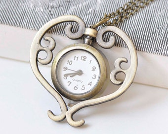 1 PC Antique Bronze Small Heart Pocket Watch 27mm A3857